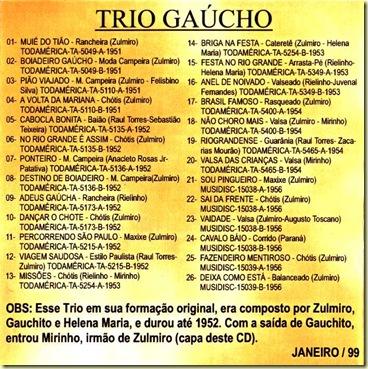 Trio Gaucho - Contracapa