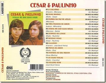 Cézar e Paulinho (1974) Contracapa