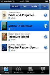 Bluefire Ebook reader for iPhone