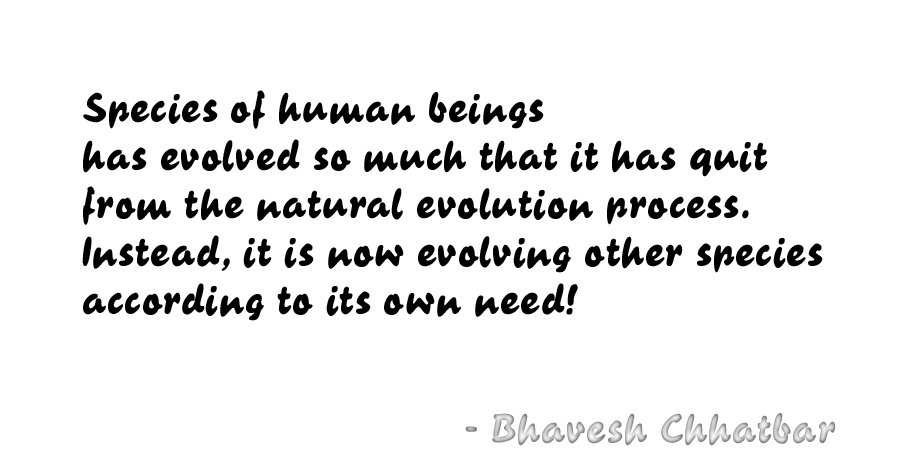 Species of human beings has evolved so much that it has quit from the natural evolution process. Instead, it is now evolving other species according to its own need! - Bhavesh Chhatbar