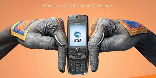 23 creative ads by AT&T [hand-modelling advertisements] - 2 elephants