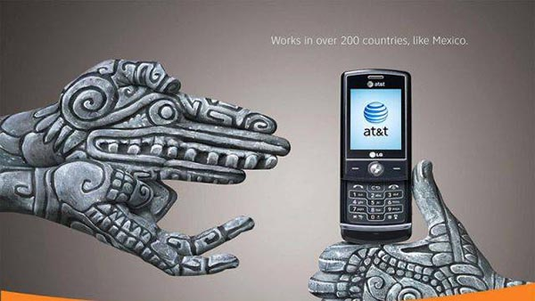 23 creative ads by AT&T [hand-modelling advertisements] - Quetzacoatl — feathered serpent, Teotihuacan, near Mexico City