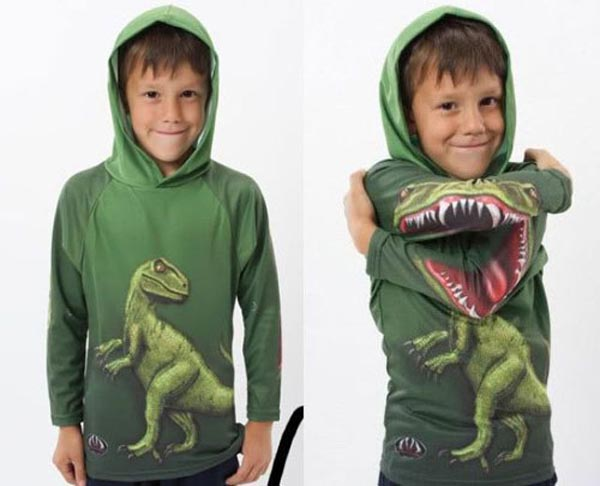 Photos of people doing stupid things - Boy with dino t-shirt
