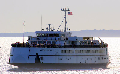 The Martha's Vineyard ferry crosses Nantucket Sound, west of the Cape Wind site.