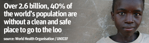 Over 2.6 billion, 40% of the world's population are without a clean and safe place to go to the loo