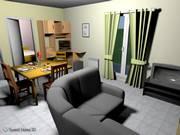 desenho 3D de uma sala de estar