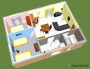 planta 3D de uma casa com banheiro e sala de estar