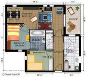 planta de uma casa com sala, cozinha, quarto e banheiro