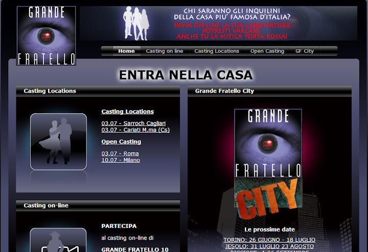 Site do programa Grande Fratello