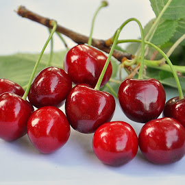 Cherries by Maja  Marjanovic - Nature Up Close Gardens & Produce ( red, nature, gardens, cherries, produce )