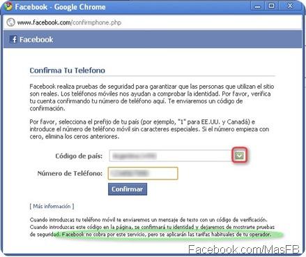 Confirmar Teléfono Celular por Facebook