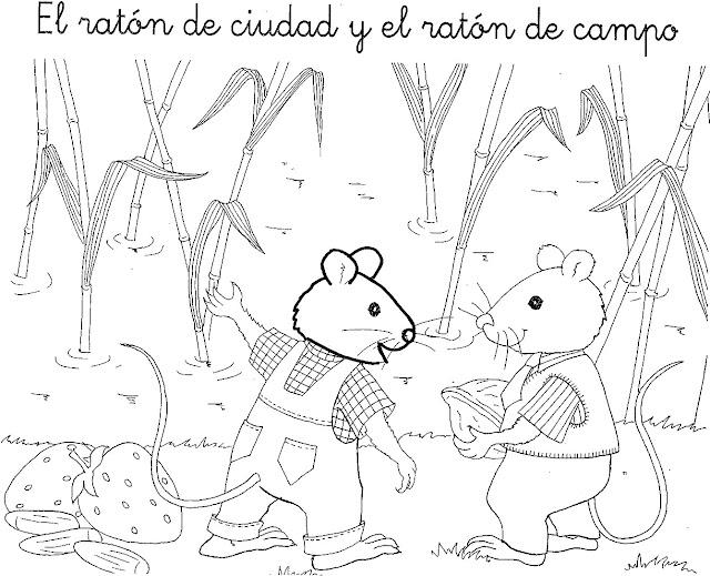 COLOREAR CUENTO RATON DE LA CIUDAD Y RATON DE CAMPO