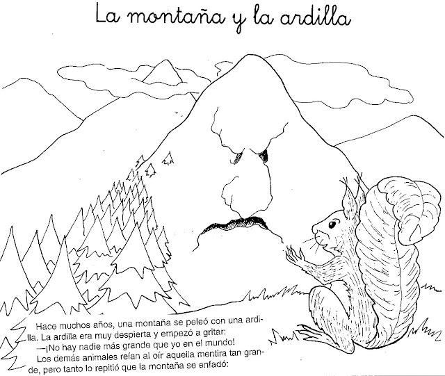 CUENTO DE LA MONTAÑA Y LA ARDILLA PARA PINTAR