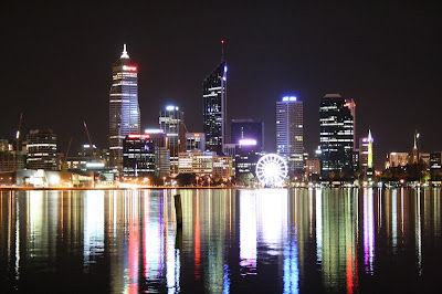 Perth Skyline night Western Australia
