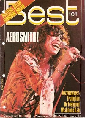 Steven Tyler en couverture de Best en 1976