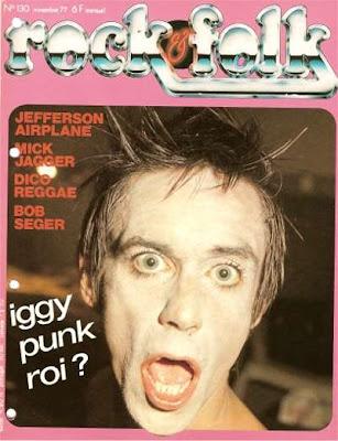 Iggy pop en couverture de Rock & Folk en 1977