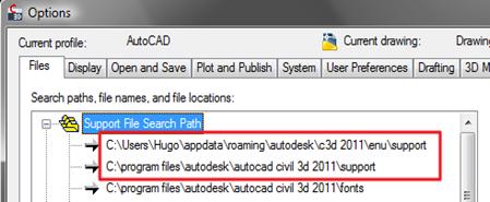 Folder de soporte de AutoCAD