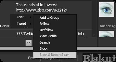 Block user and Report spam