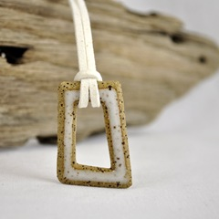 eclectic geometric stoneware indie pendant by glazedOver Pottery white square 2