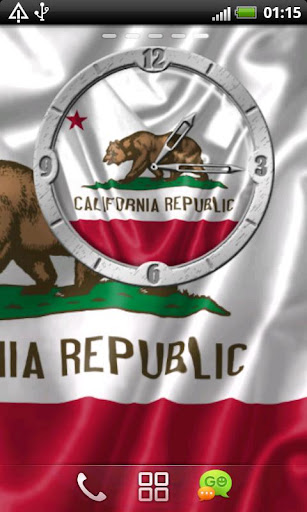 USA California clock flag