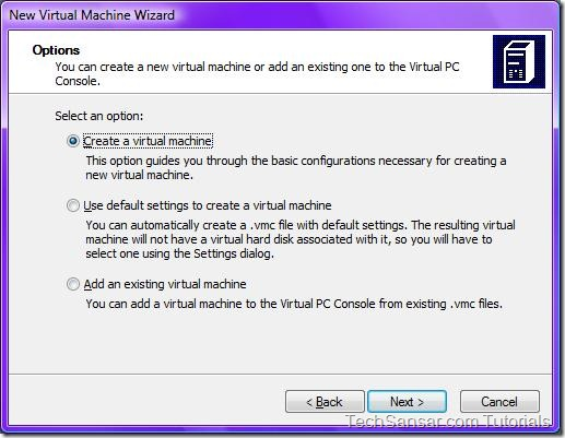 3New Virtual Machine Wizard Options