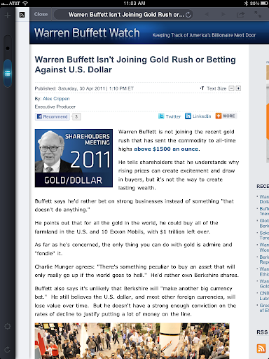 warren buffett not chasing gold