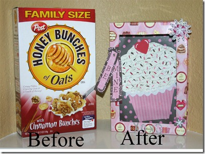 cereal box before and after with text