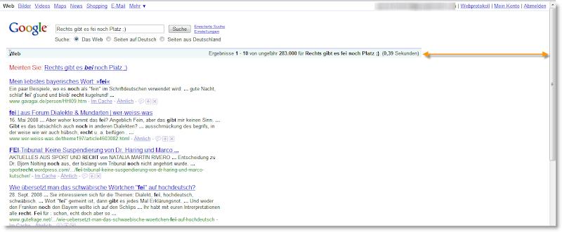 Google Suchergebnisse mit Lücke