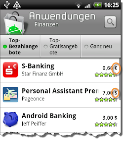 Android Store: Das Problem mit den Währungen...