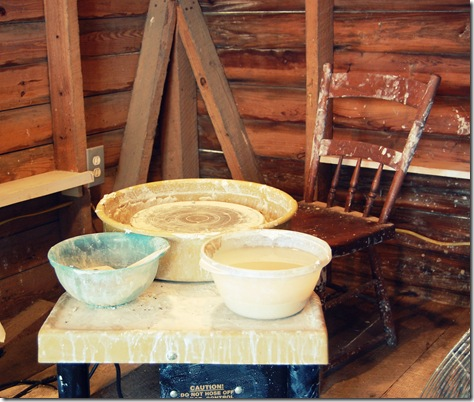 pottery wheel and chair