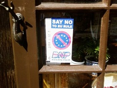 BNP leaflet in window
