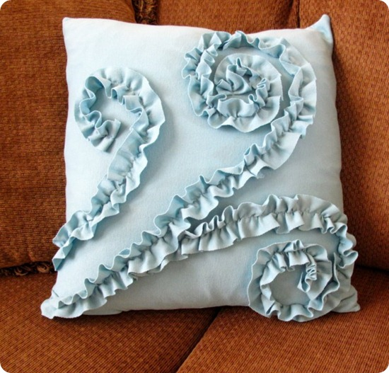 How To Make A Throw Pillow With Ruffle : Ruffled Rosette Pillow Tutorial (using long sleeve t-shirts) My Time Well Spent