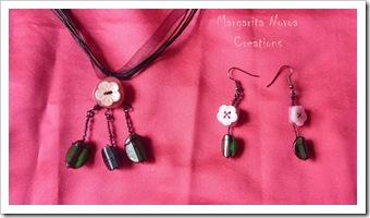 Pink Jewellery Set - Made with Buttons
