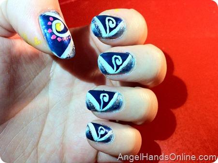Māori Swan Nail Art-swirls