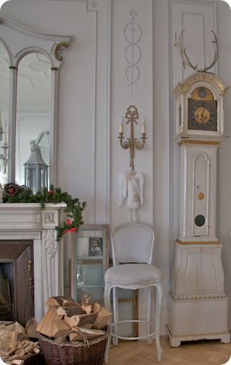 gustavian mora clock and mantlepiece