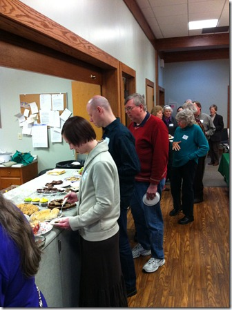 Folks lining up for food at Festival of Friends
