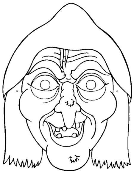 Careta de una bruja de Hlloween. Manualidades a Raudales.
