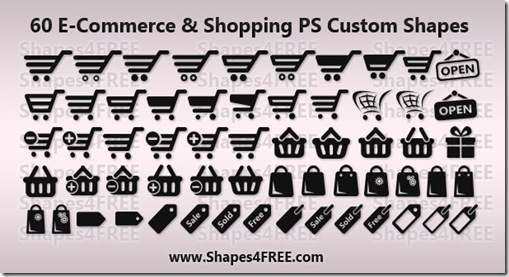 60 Shopping and E-Commerce Photoshop Shapes