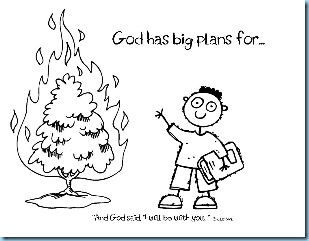 Bible Coloring Pages Moses Burning Bush At Well