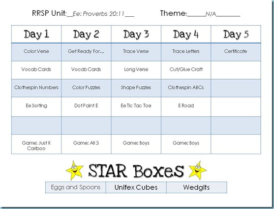 Preschool Workbox Planning Formb