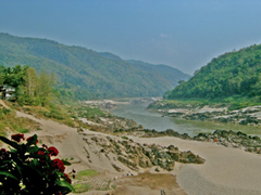 Mekong River. Water level is low during the dry season.  FarAndFurther.com