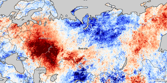 This map shows temperature anomalies for the Russian Federation from July 20–27, 2010, compared to temperatures for the same dates from 2000 to 2008. The anomalies are based on land surface temperatures observed by the Moderate Resolution Imaging Spectroradiometer (MODIS) on NASA's Terra satellite. Areas with above-average temperatures appear in red and orange, and areas with below-average temperatures appear in shades of blue. Oceans and lakes appear in gray. NASA Earth Observatory image by Jesse Allen