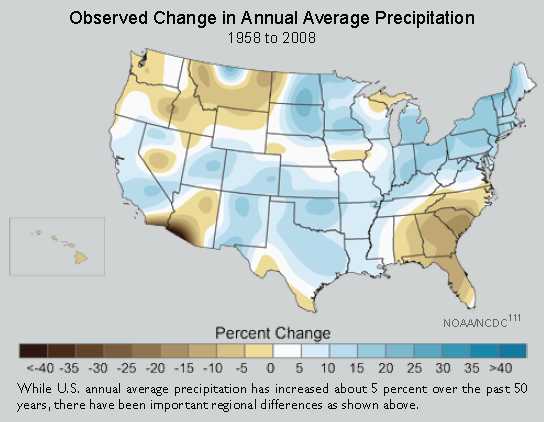 Observed Change in Annual Average Precipitation, 1958-2008. NOAA/NCDC 20008 via globalchange.gov