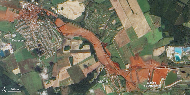 On October 9, 2010, the Advanced Land Imager (ALI) on NASA's Earth Observing-1 (EO-1) satellite captured this natural-color image of the area of western Hungary that was inundated by the flood of toxic sludge. NASA Earth Observatory image created by Jesse Allen, using EO-1 ALI data provided courtesy of the NASA EO-1 team