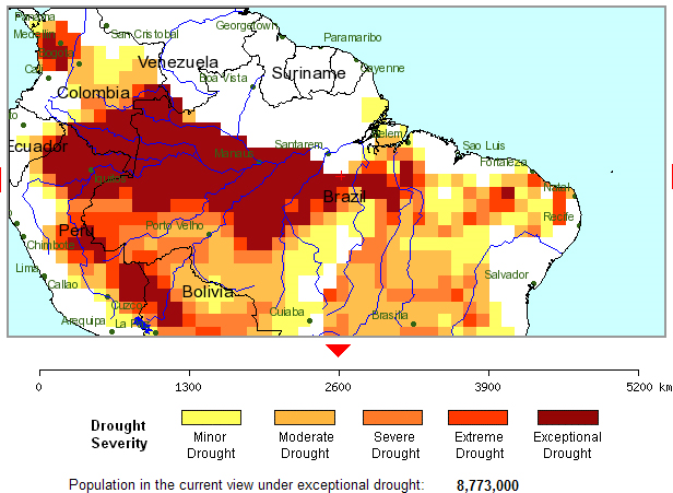 Amazon rainforest drought, 1-month assessment period, through 16 October 2010. University College London Global Drought Monitor via Climate Progress