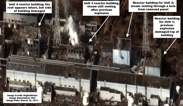 DigitalGlobe commercial satellite image of the Fukushima Daiichi nuclear site taken at 9:35AM local time on March 16, 2011. isis-online.org