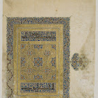 This superbly illuminated page originally formed the right half of a double-page opening to a section of a Qur'an. It combines the three main Islamic types of nonfigural decoration: calligraphy, vegetal patterns, and geometric patterns. The vegetal patterns here are the classical scrolls utilized as the background to the calligraphy, within the compartments of the geometric interlace, and in the text frame and margin medallion. Two ground colors are used to introduce additional patterning.
