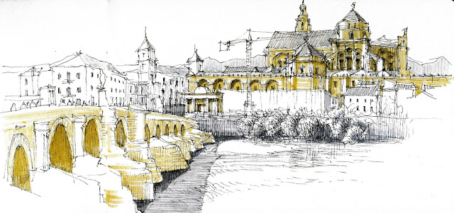 The great mosque (with its catholic cathedral within) seen from the south bank of Guadalquivir river. The roman bridge to the left of the sketch.Córdoba, view from the south bank :: © Luis Ruiz Padrón ::