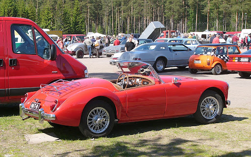 Red colored MG-MGA, Picture of MG-MGA roadster, stylish retro car, MG-MGA  model