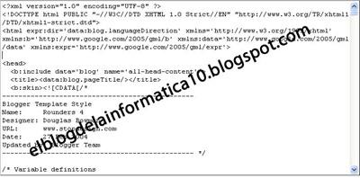 Buscar código en la plantilla HTML del blog